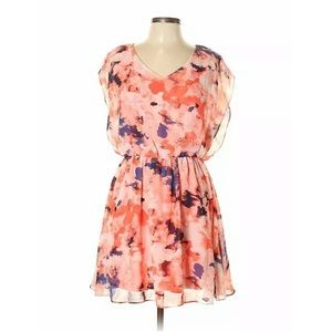 IZ Byer Pink Blue Sleeveless V Neck Floral Dress